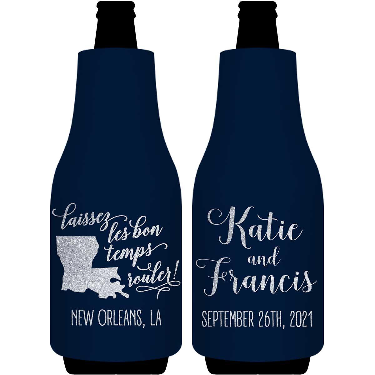 Laissez Les Bon Temps Rouler 2A Foldable Bottle Sleeve Koozies Wedding Gifts for Guests