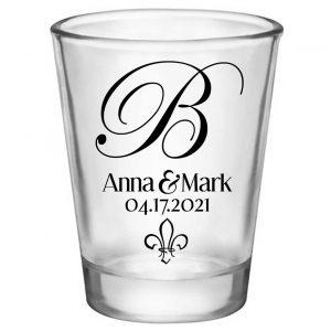 Fleur de Lis 1A Standard 1.75oz Clear Shot Glasses NOLA Wedding Gifts for Guests
