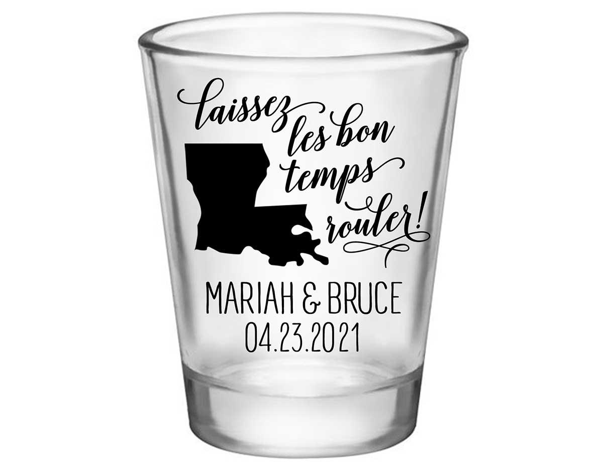 Laissez Les Bon Temps Rouler 2A Standard 1.75oz Clear Shot Glasses New Orleans Wedding Gifts for Guests