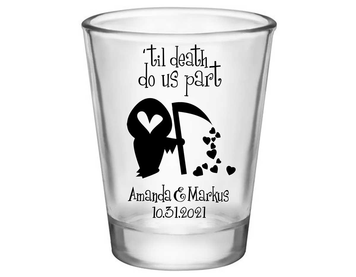 Til Death Do Us Part 1B Grim Reaper Standard 1.75oz Clear Shot Glasses Halloween Wedding Gifts for Guests