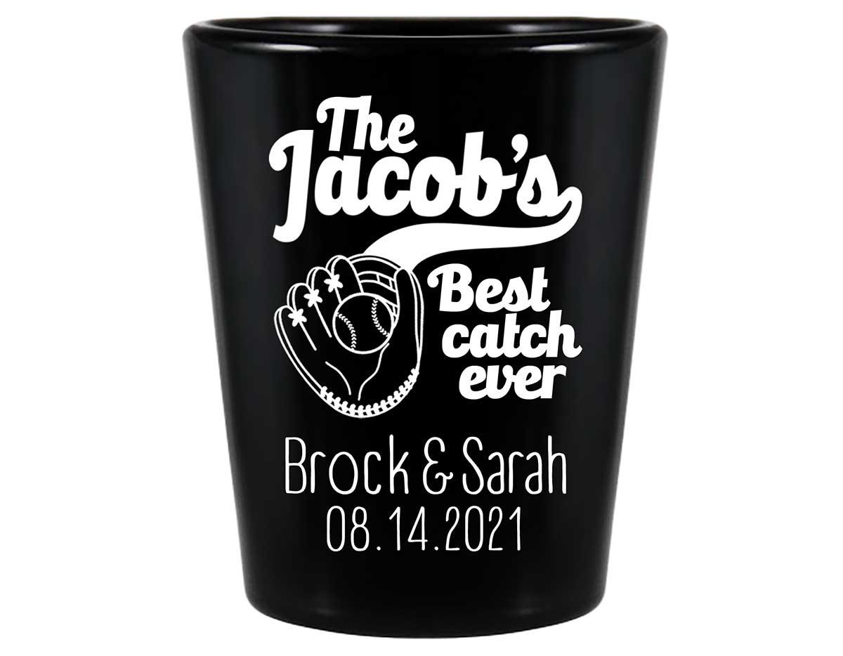 Best Catch Ever 1A Baseball Standard 1.5oz Black Shot Glasses Baseball Lovers Wedding Gifts for Guests
