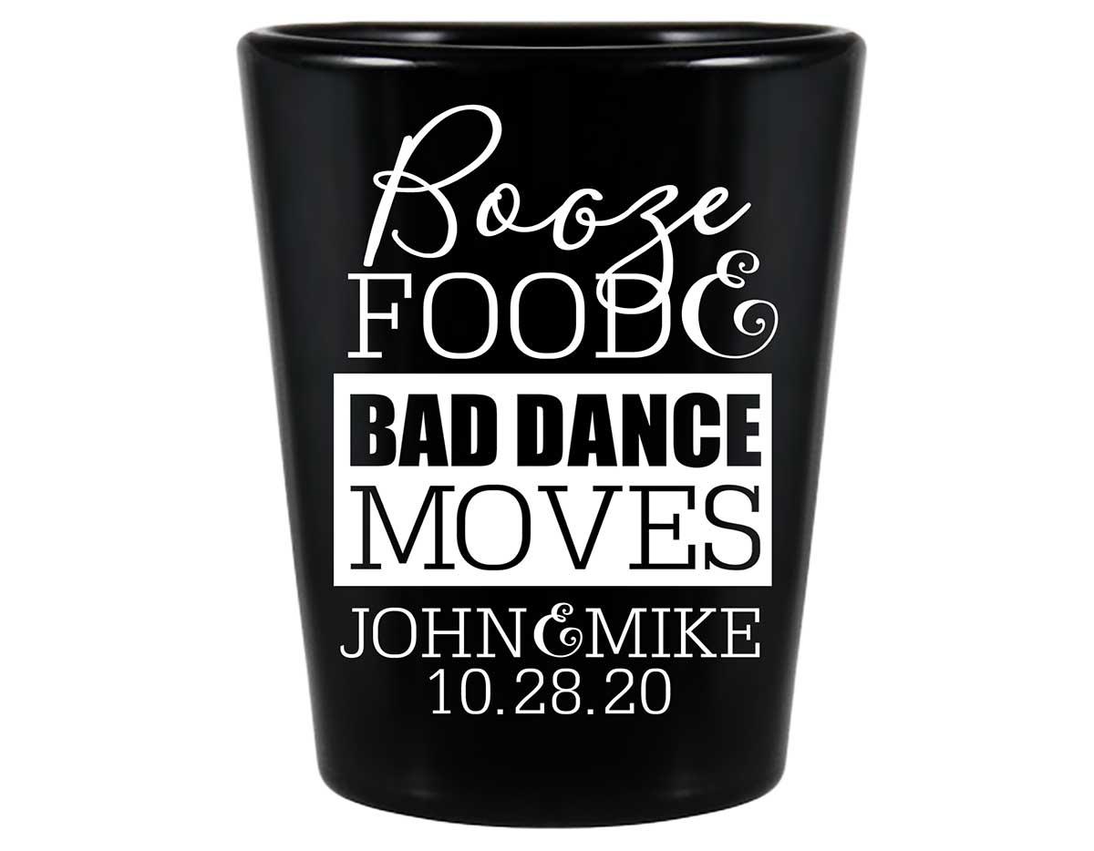 Booze Food & Bad Dance Moves 1A Standard 1.5oz Black Shot Glasses Funny Wedding Gifts for Guests