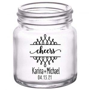 Cheers 4B Swirls 2oz Mini Mason Shot Glasses Personalized Wedding Gifts for Guests