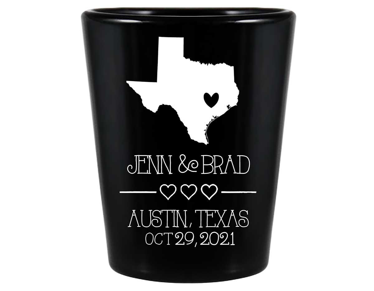 Custom Map 2A Standard 1.5oz Black Shot Glasses Destination Wedding Gifts for Guests