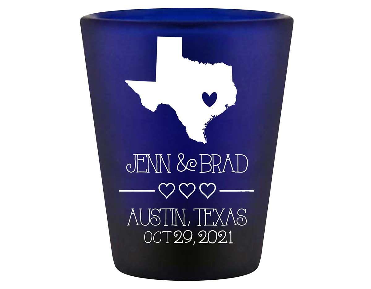 Custom Map 2A Standard 1.5oz Blue Shot Glasses Destination Wedding Gifts for Guests