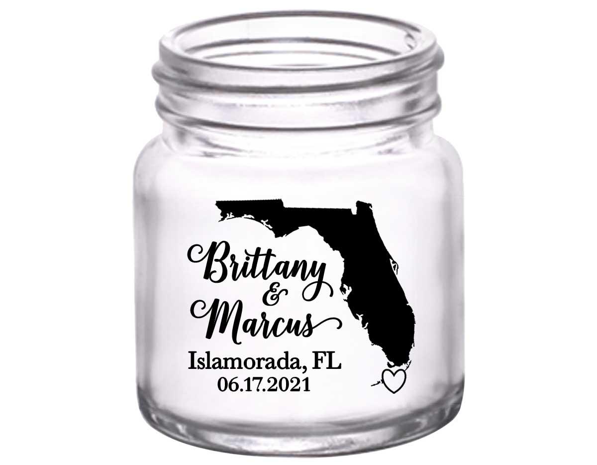 Custom Map 3A 2oz Mini Mason Shot Glasses Destination Wedding Gifts for Guests