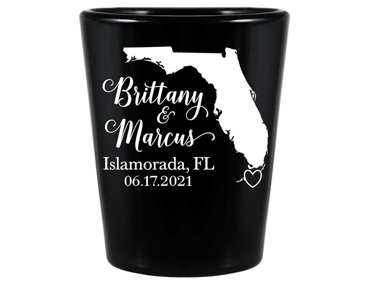Custom Map 3A Standard 1.5oz Black Shot Glasses Destination Wedding Gifts for Guests