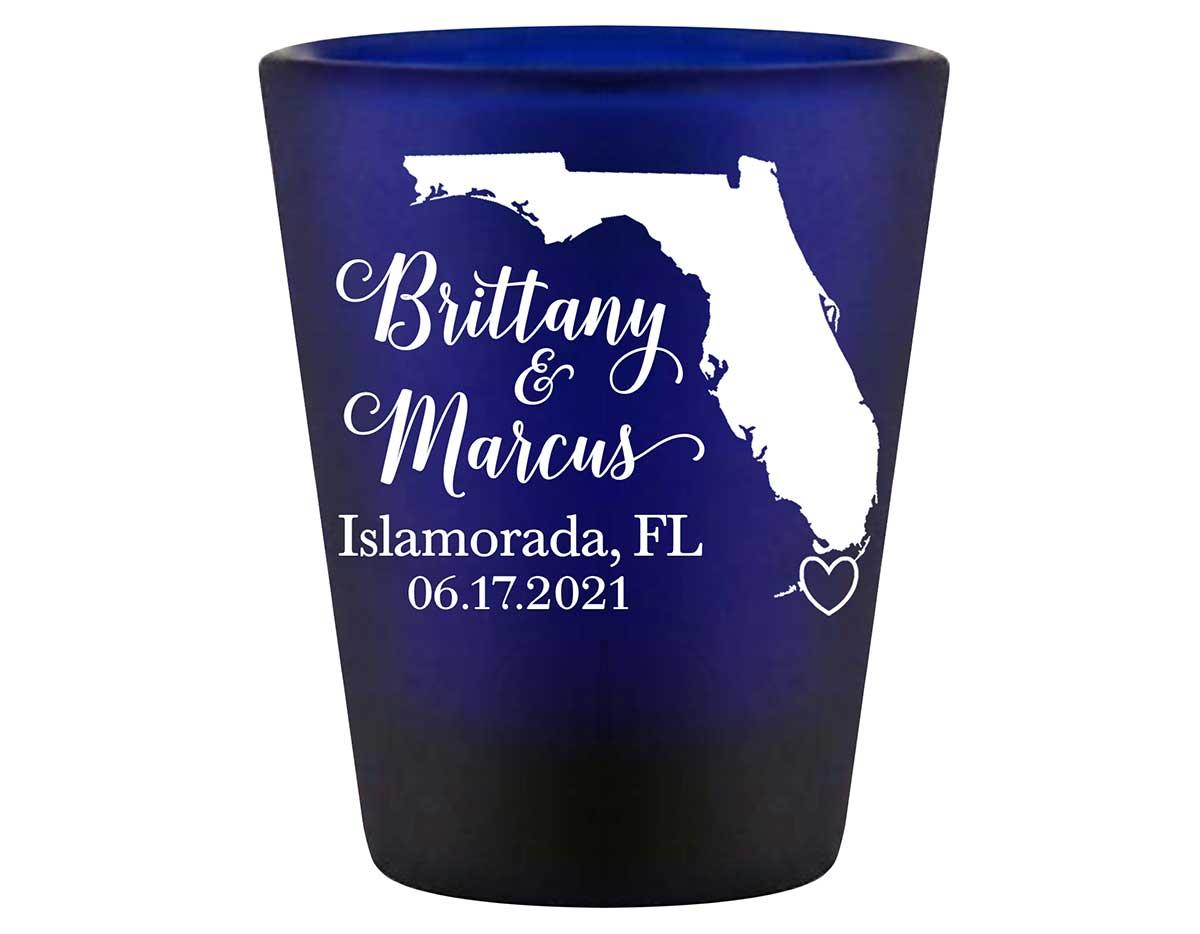 Custom Map 3A Standard 1.5oz Blue Shot Glasses Destination Wedding Gifts for Guests