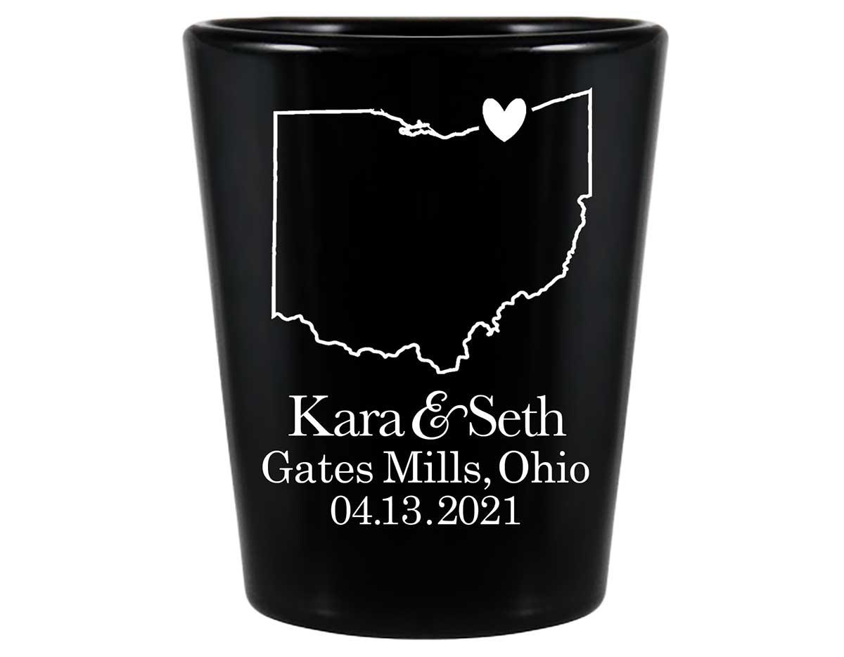 Custom Map 4A Standard 1.5oz Black Shot Glasses Destination Wedding Gifts for Guests