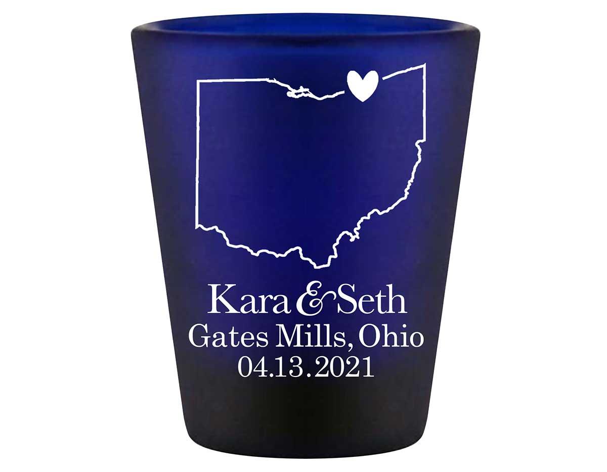 Custom Map 4A Standard 1.5oz Blue Shot Glasses Destination Wedding Gifts for Guests