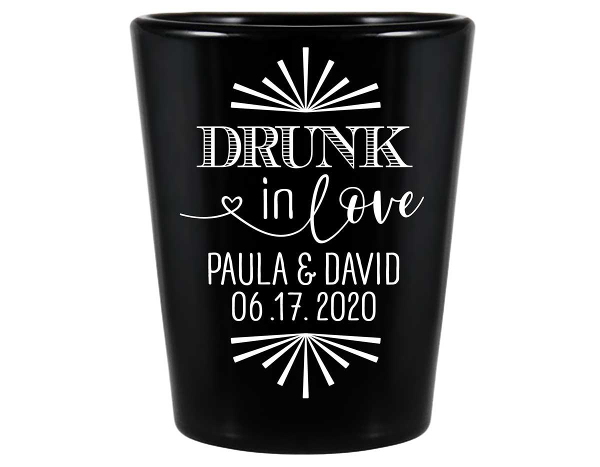 Drunk In Love 1C Standard 1.5oz Black Shot Glasses Funny Wedding Gifts for Guests