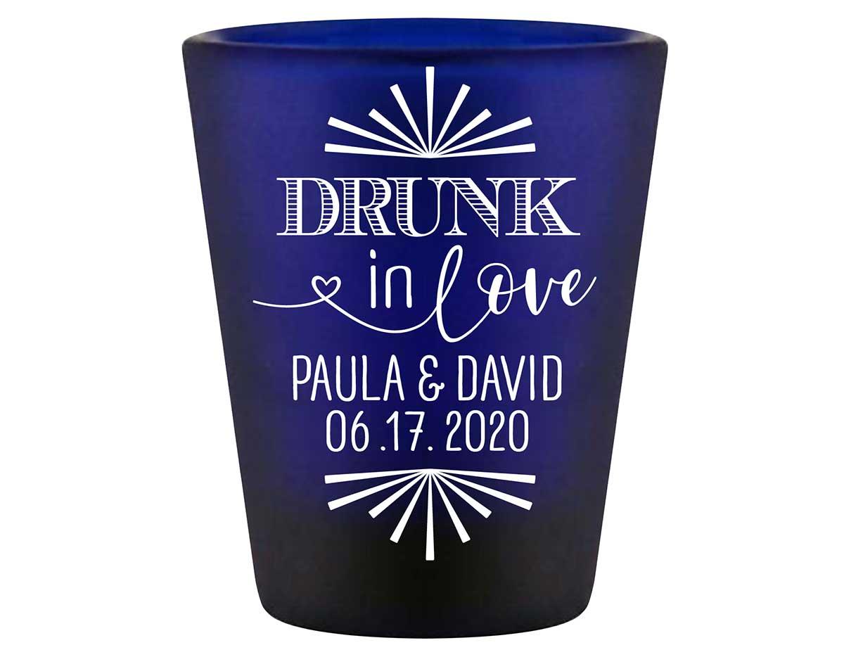Drunk In Love 1C Standard 1.5oz Blue Shot Glasses Funny Wedding Gifts for Guests
