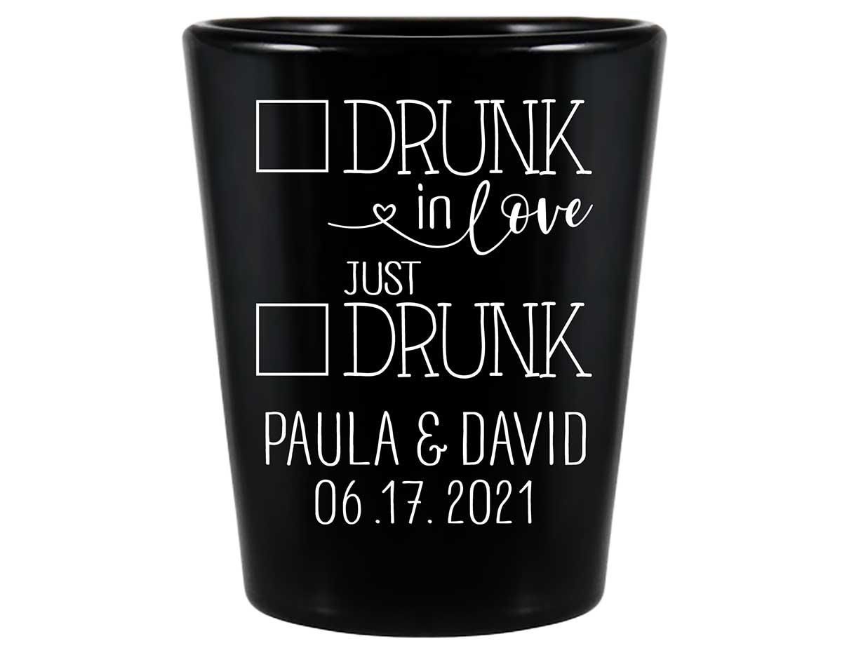 Drunk In Love 3A Just Drunk Standard 1.5oz Black Shot Glasses Funny Wedding Gifts for Guests