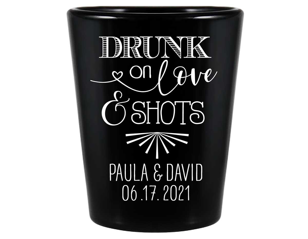 Drunk On Love & Shots 1A Standard 1.5oz Black Shot Glasses Funny Wedding Gifts for Guests