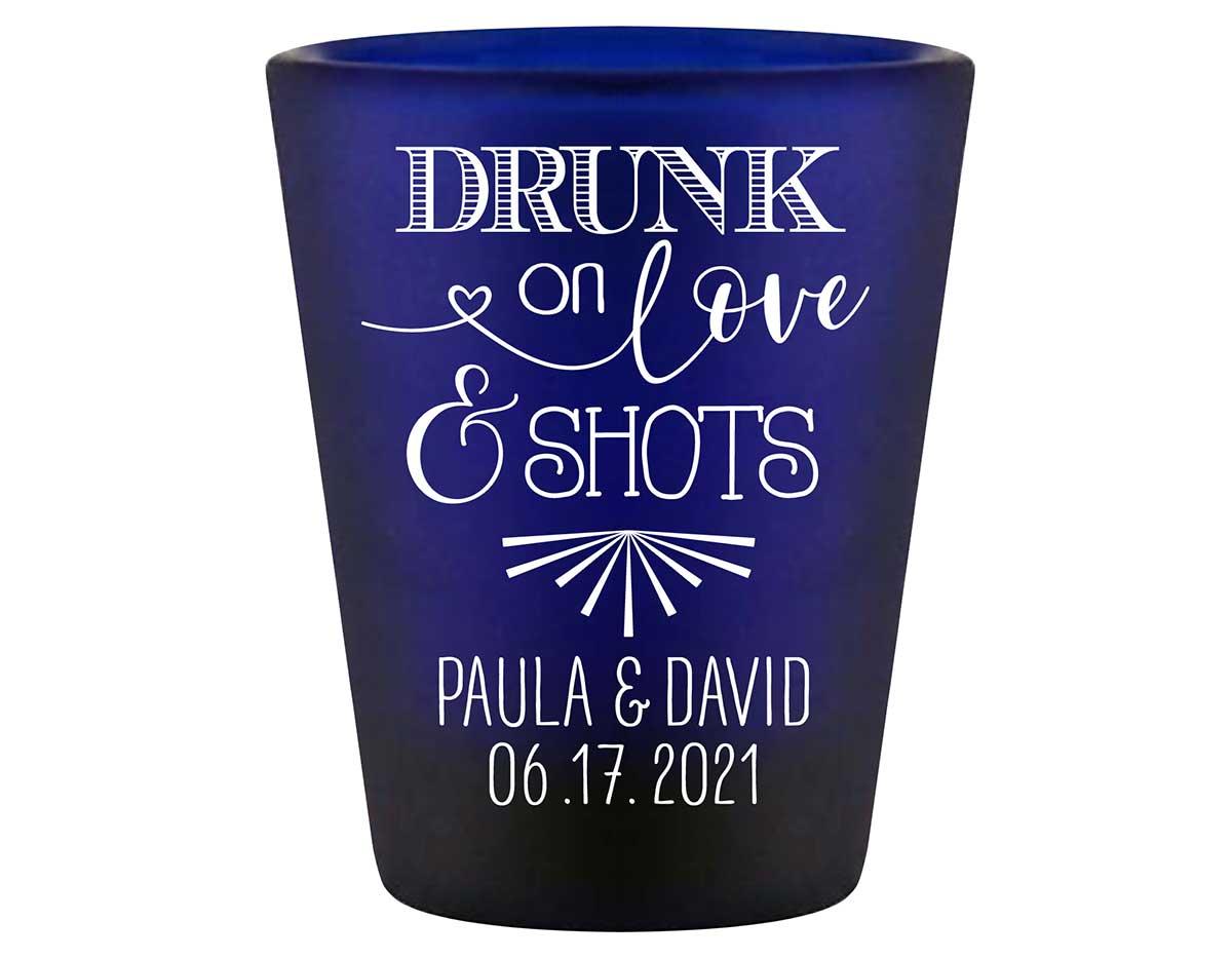 Drunk On Love & Shots 1A Standard 1.5oz Blue Shot Glasses Funny Wedding Gifts for Guests