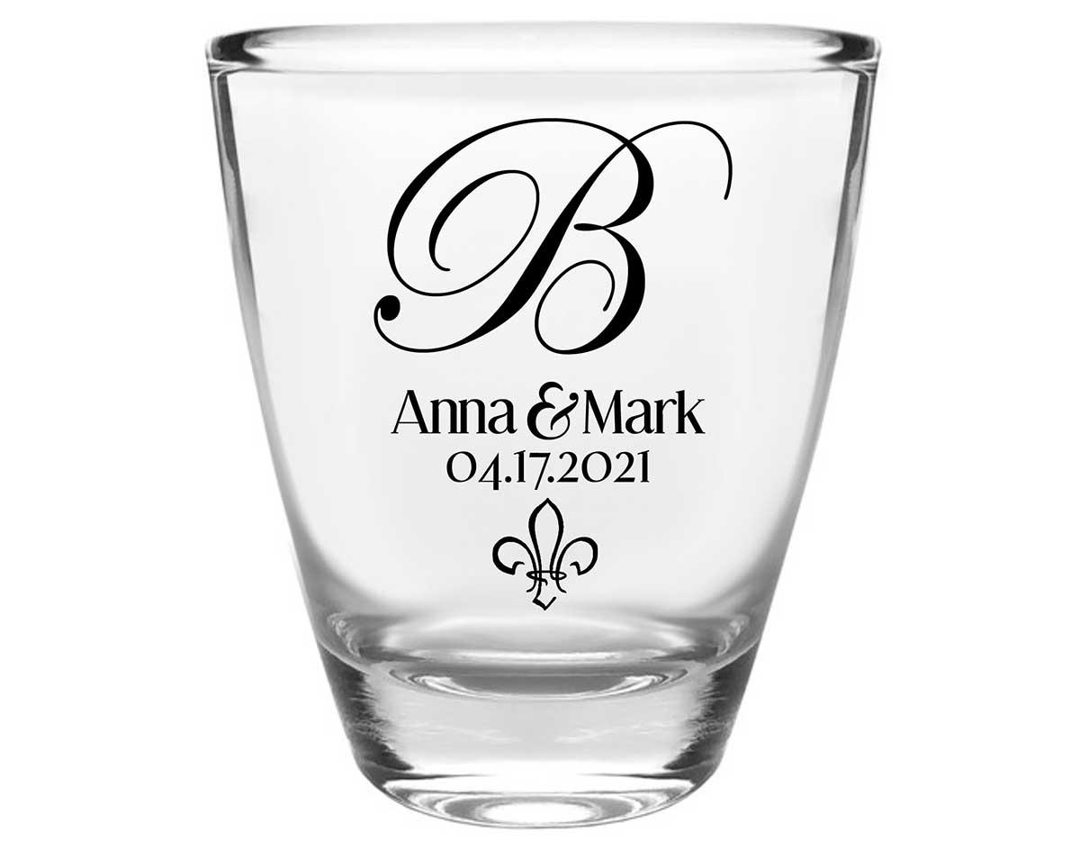 Fleur de Lis 1A Clear 1oz Round Barrel Shot Glasses NOLA Wedding Gifts for Guests