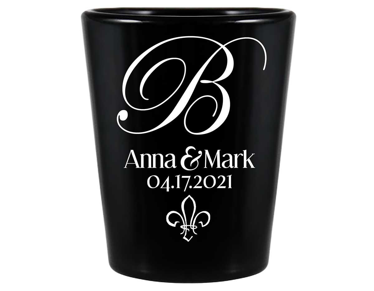 Fleur de Lis 1A Standard 1.5oz Black Shot Glasses NOLA Wedding Gifts for Guests