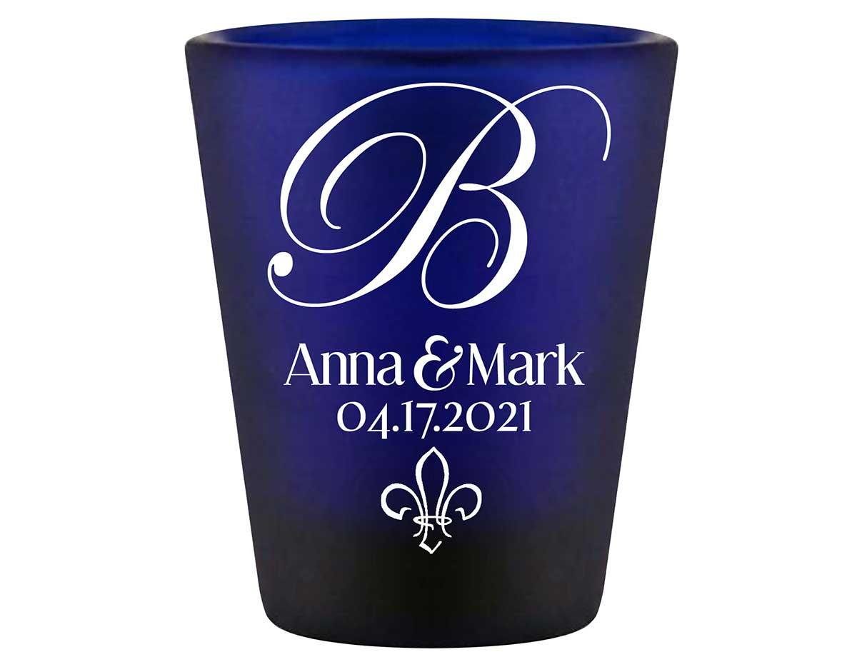 Fleur de Lis 1A Standard 1.5oz Blue Shot Glasses NOLA Wedding Gifts for Guests