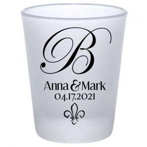 Fleur de Lis 1A Standard 1.75oz Frosted Shot Glasses NOLA Wedding Gifts for Guests