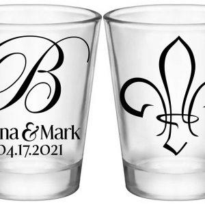 Fleur de Lis 1A2 Standard 1.75oz Clear Shot Glasses NOLA Wedding Gifts for Guests