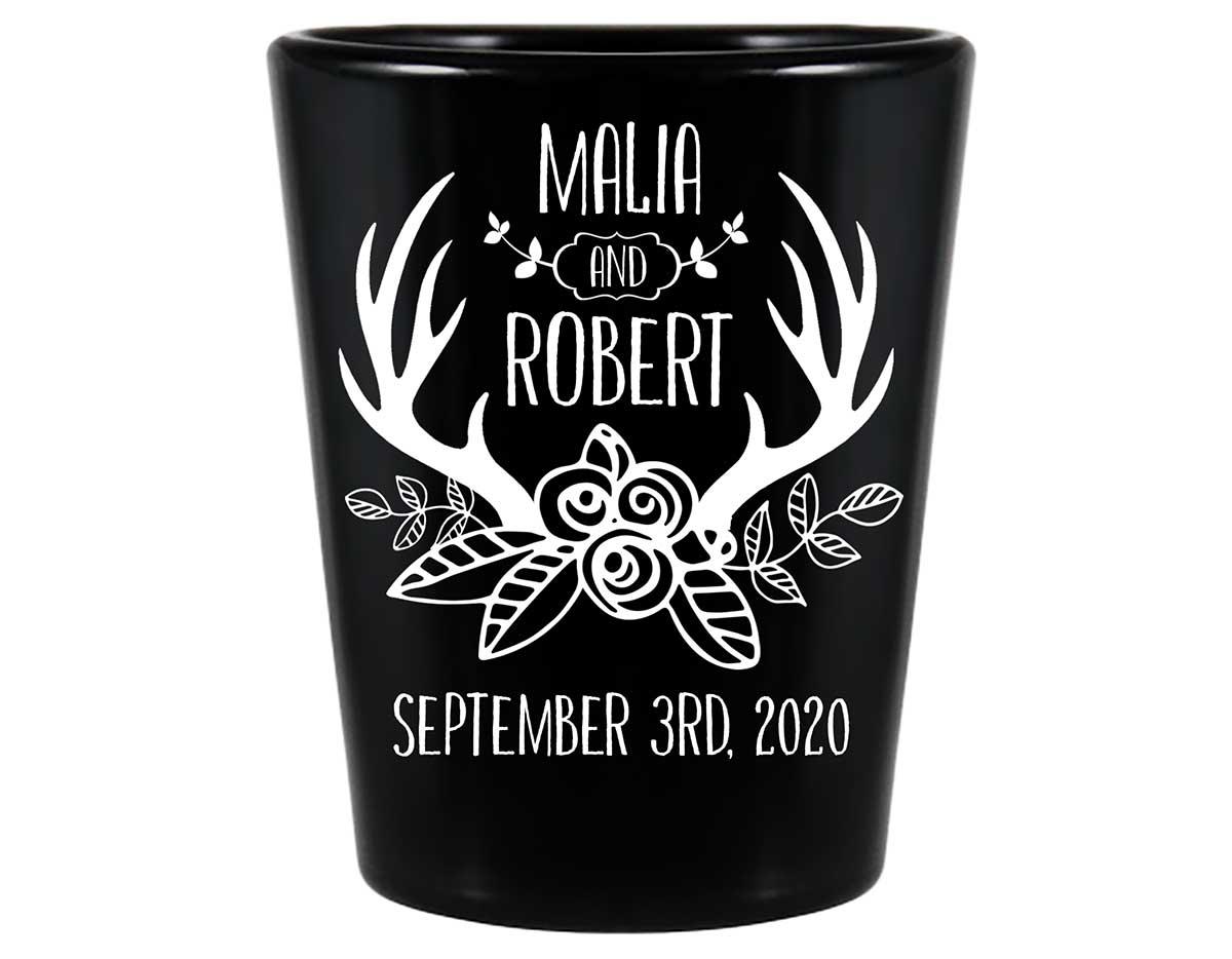 Floral Antlers 1B Standard 1.5oz Black Shot Glasses Rustic Wedding Gifts for Guests