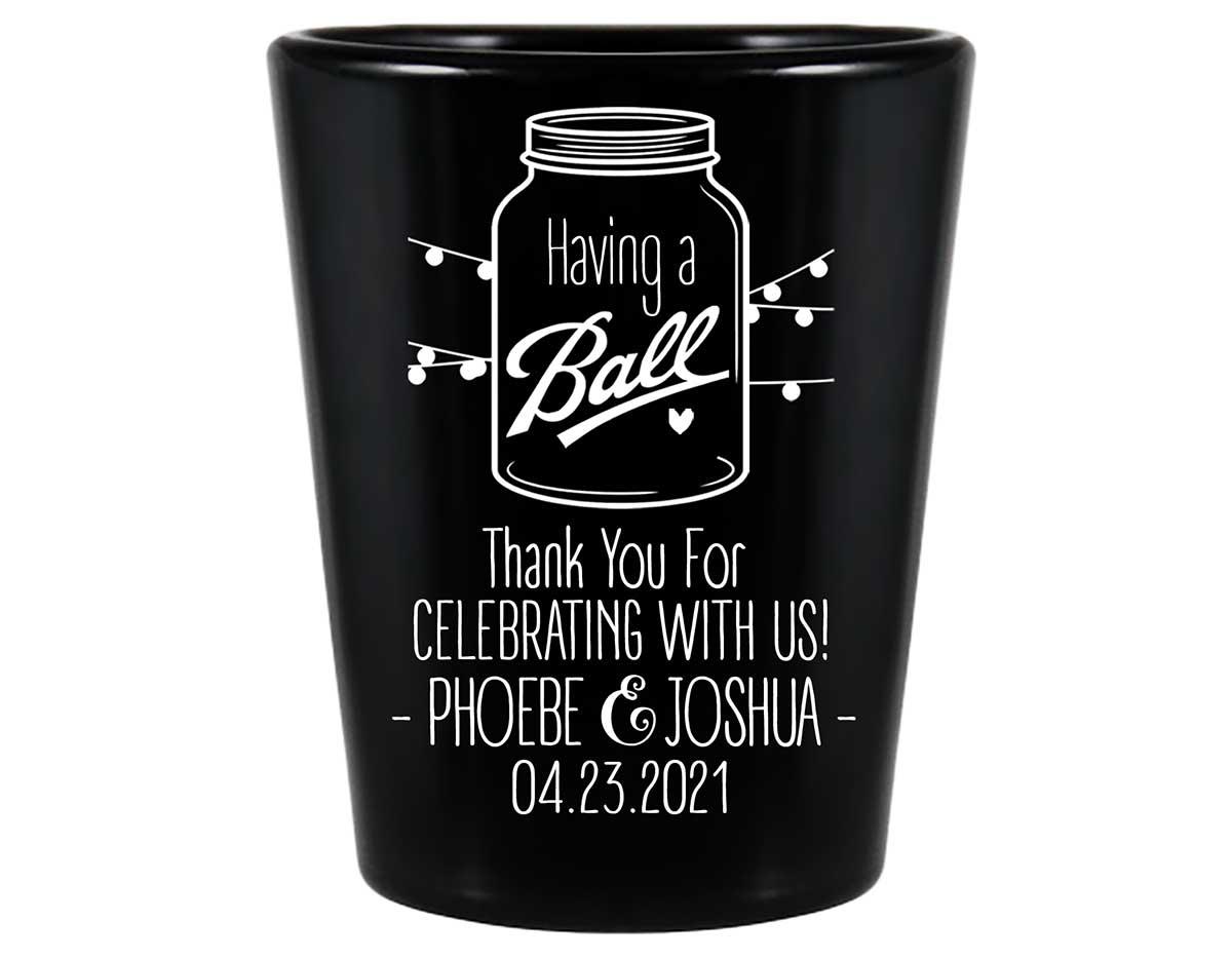 Having A Ball 1B Mason Jar Standard 1.5oz Black Shot Glasses Rustic Wedding Gifts for Guests