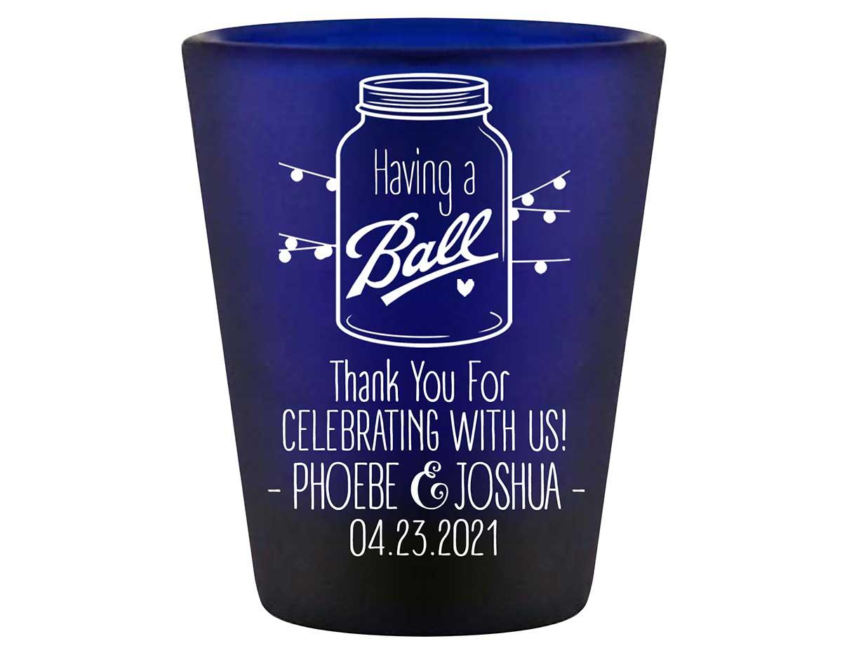 Having A Ball 1B Mason Jar Standard 1.5oz Blue Shot Glasses Rustic Wedding Gifts for Guests