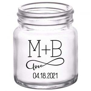 Infinite Love 1B Infinity Symbol 2oz Mini Mason Shot Glasses Romantic Wedding Gifts for Guests