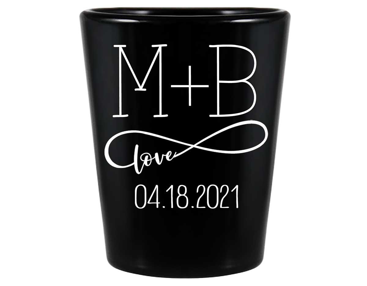 Infinite Love 1B Infinity Symbol Standard 1.5oz Black Shot Glasses Romantic Wedding Gifts for Guests