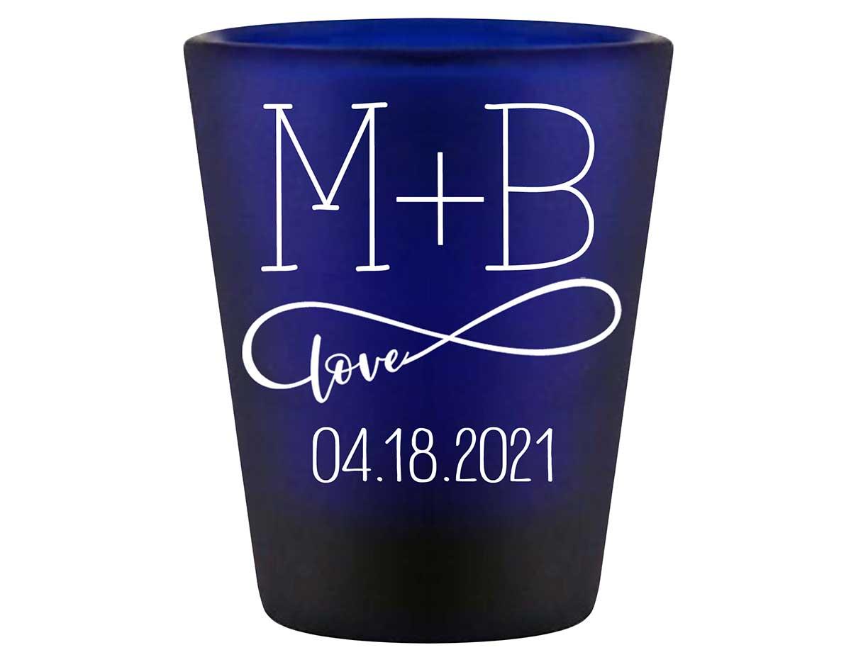 Infinite Love 1B Infinity Symbol Standard 1.5oz Blue Shot Glasses Romantic Wedding Gifts for Guests