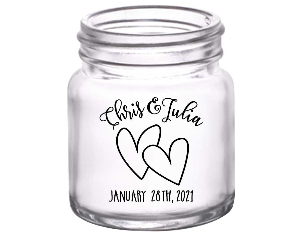 Intertwined Hearts 4B 2oz Mini Mason Shot Glasses Romantic Wedding Gifts for Guests