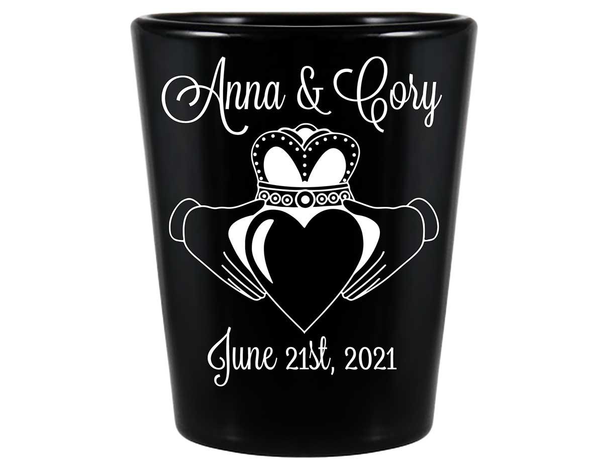 Ireland Love 1A Claddagh Standard 1.5oz Black Shot Glasses Irish Wedding Gifts for Guests