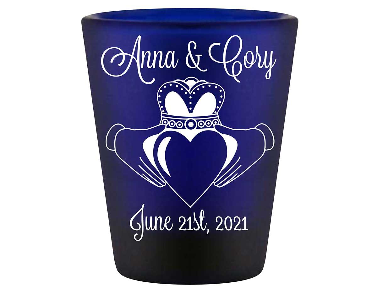 Ireland Love 1A Claddagh Standard 1.5oz Blue Shot Glasses Irish Wedding Gifts for Guests