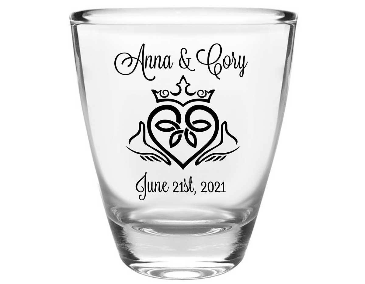 Ireland Love 1B Claddagh Clear 1oz Round Barrel Shot Glasses Irish Wedding Gifts for Guests