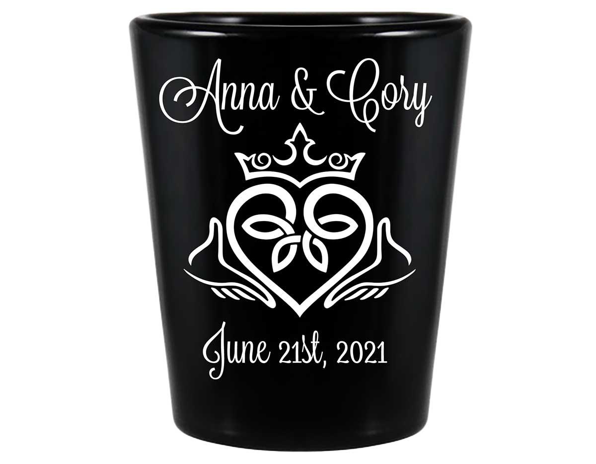 Ireland Love 1B Claddagh Standard 1.5oz Black Shot Glasses Irish Wedding Gifts for Guests