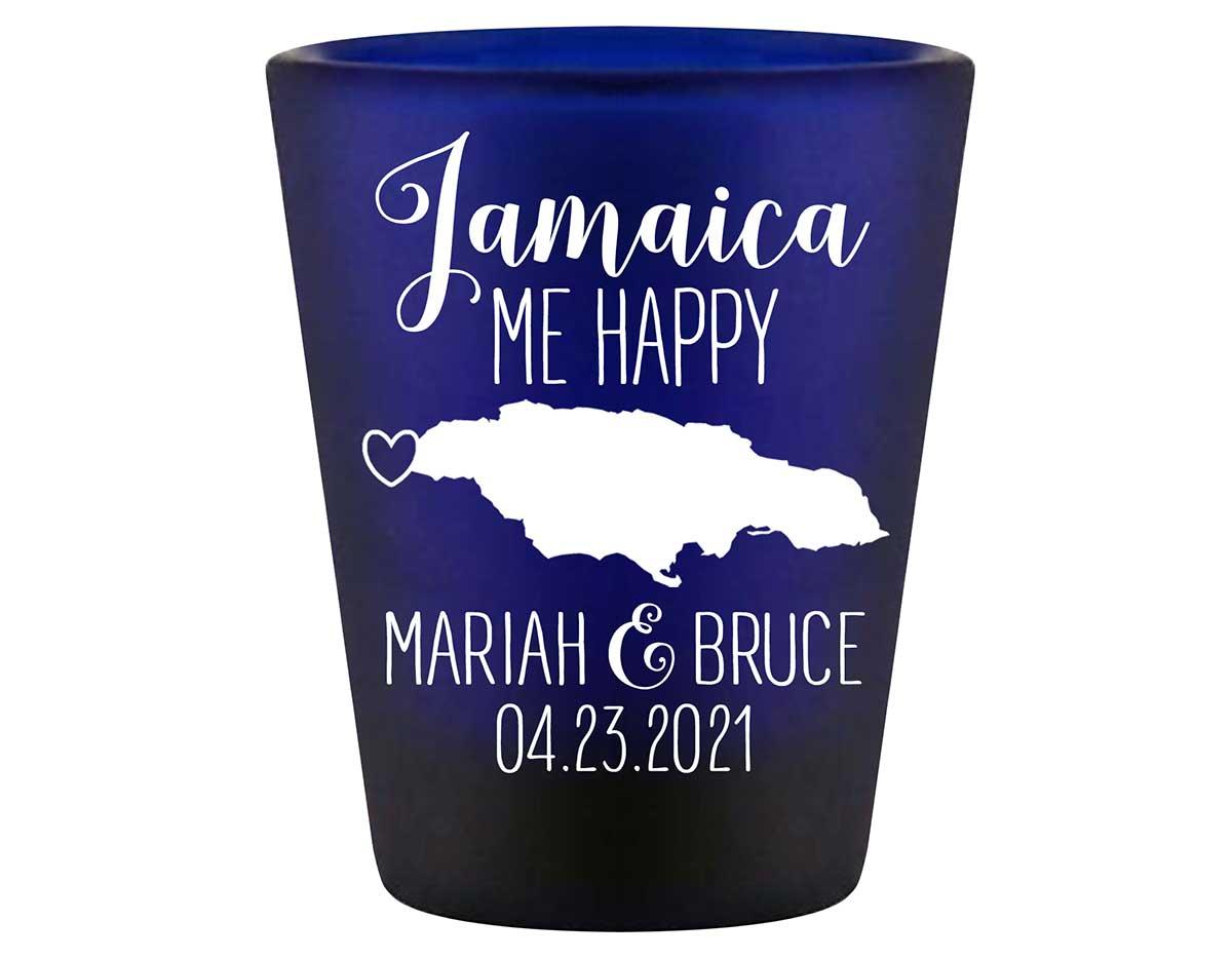 Jamaica Me Happy 1A Standard 1.5oz Blue Shot Glasses Destination Wedding Gifts for Guests