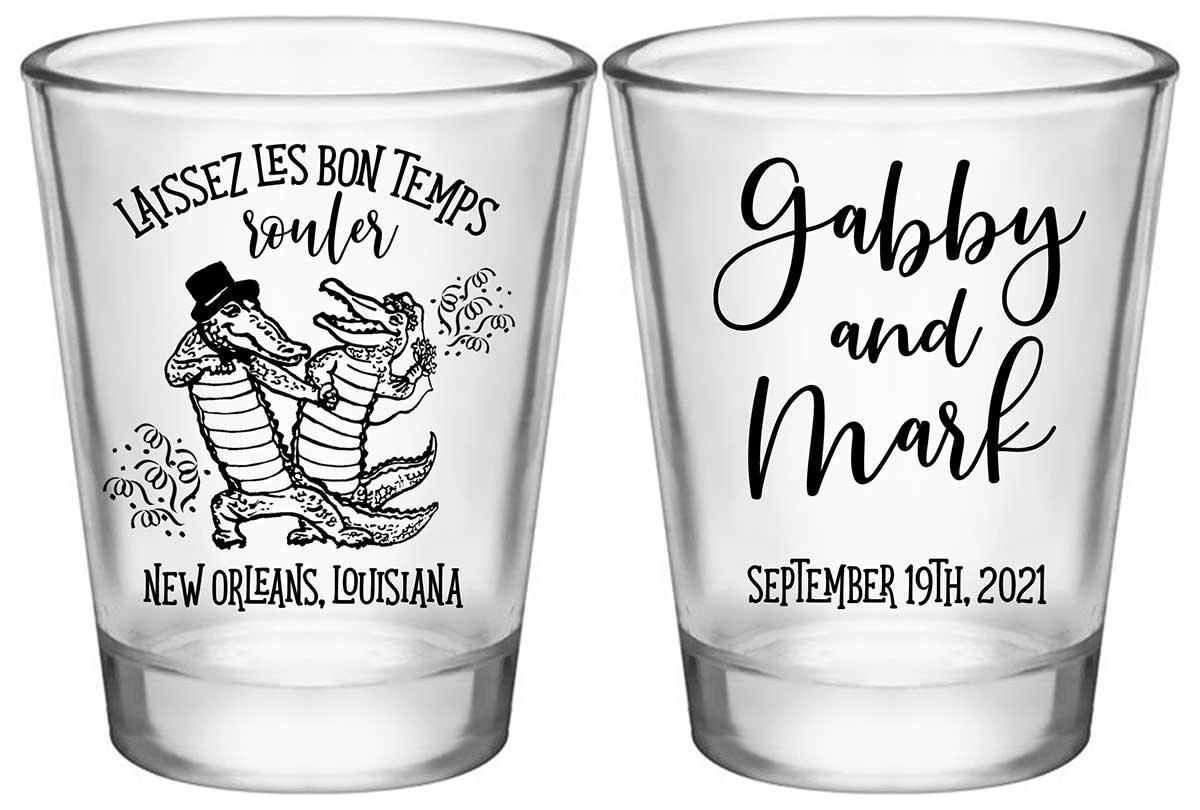 Laissez Les Bon Temps Rouler 1A2 Standard 1.75oz Clear Shot Glasses New Orleans Wedding Gifts for Guests