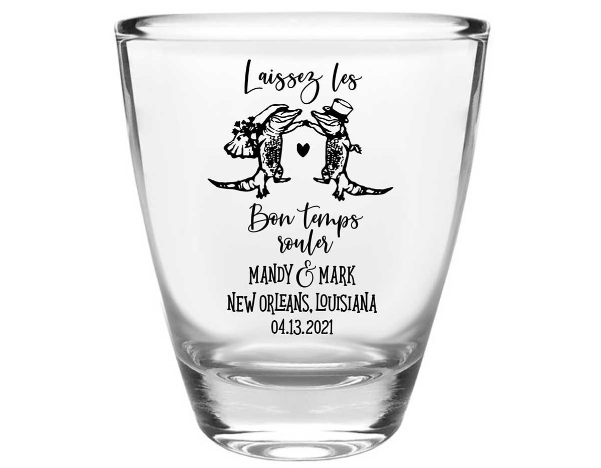 Laissez Les Bon Temps Rouler 1B Clear 1oz Round Barrel Shot Glasses New Orleans Wedding Gifts for Guests
