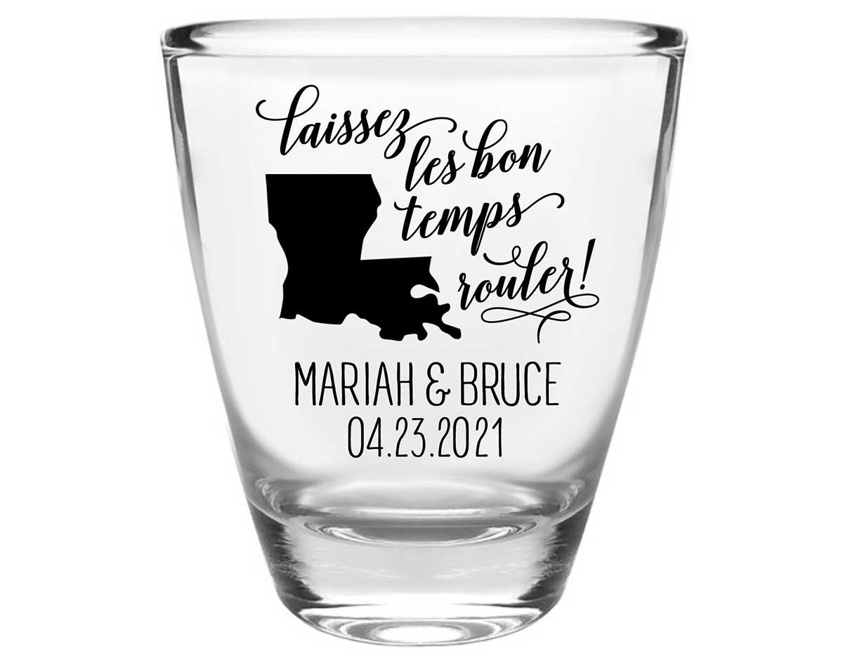 Laissez Les Bon Temps Rouler 2A Clear 1oz Round Barrel Shot Glasses New Orleans Wedding Gifts for Guests