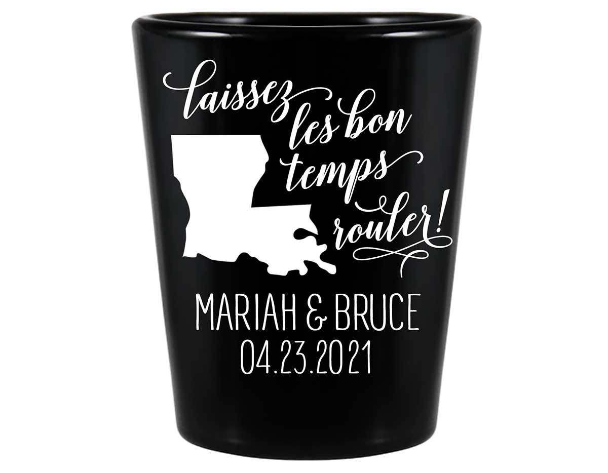 Laissez Les Bon Temps Rouler 2A Standard 1.5oz Black Shot Glasses New Orleans Wedding Gifts for Guests
