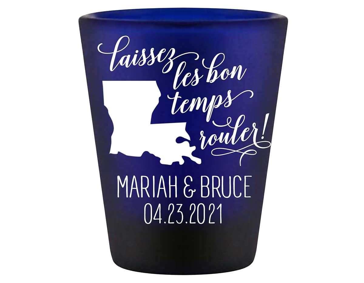 Laissez Les Bon Temps Rouler 2A Standard 1.5oz Blue Shot Glasses New Orleans Wedding Gifts for Guests