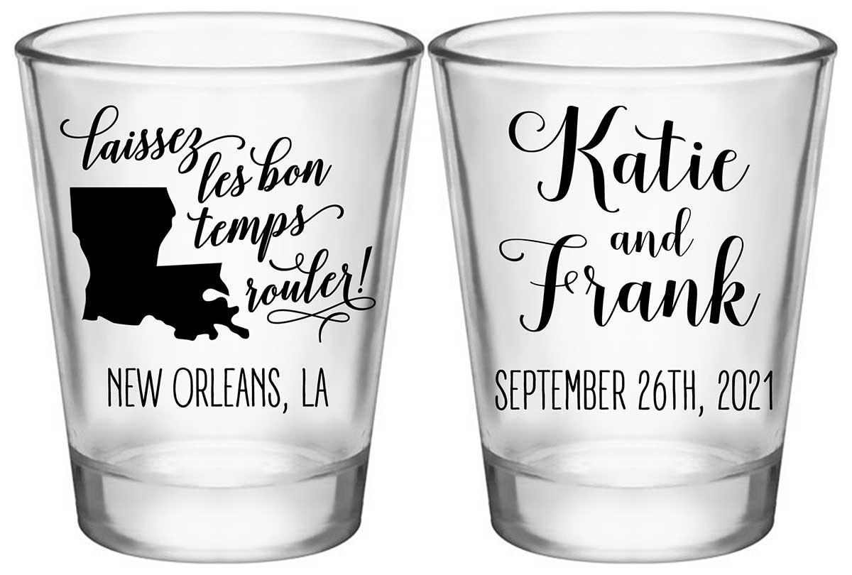 Laissez Les Bon Temps Rouler 2A2 Standard 1.75oz Clear Shot Glasses New Orleans Wedding Gifts for Guests