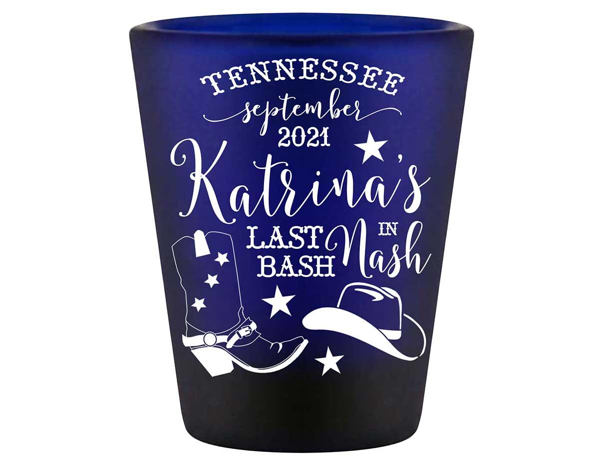Last Bash In Nash 1A Standard 1.5oz Blue Shot Glasses Nashville Bachelorette Party Gifts for Guests