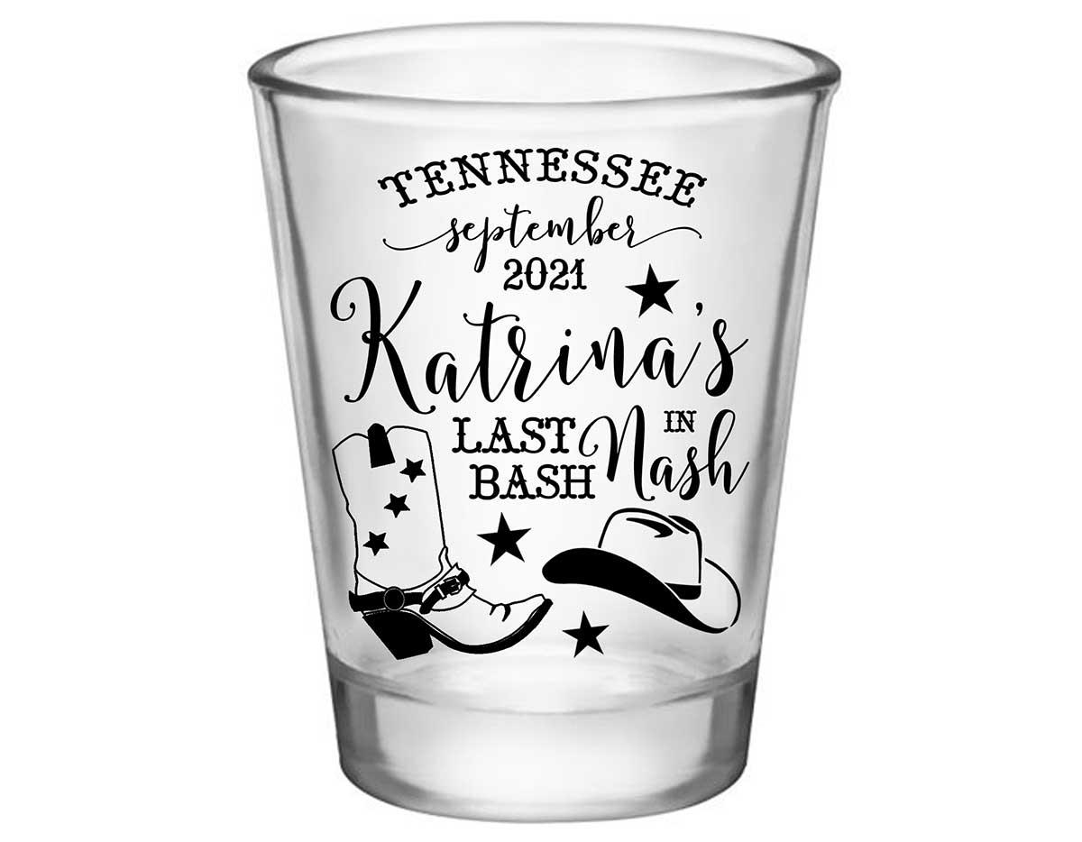 Last Bash In Nash 1A Standard 1.75oz Clear Shot Glasses Nashville Bachelorette Party Gifts for Guests