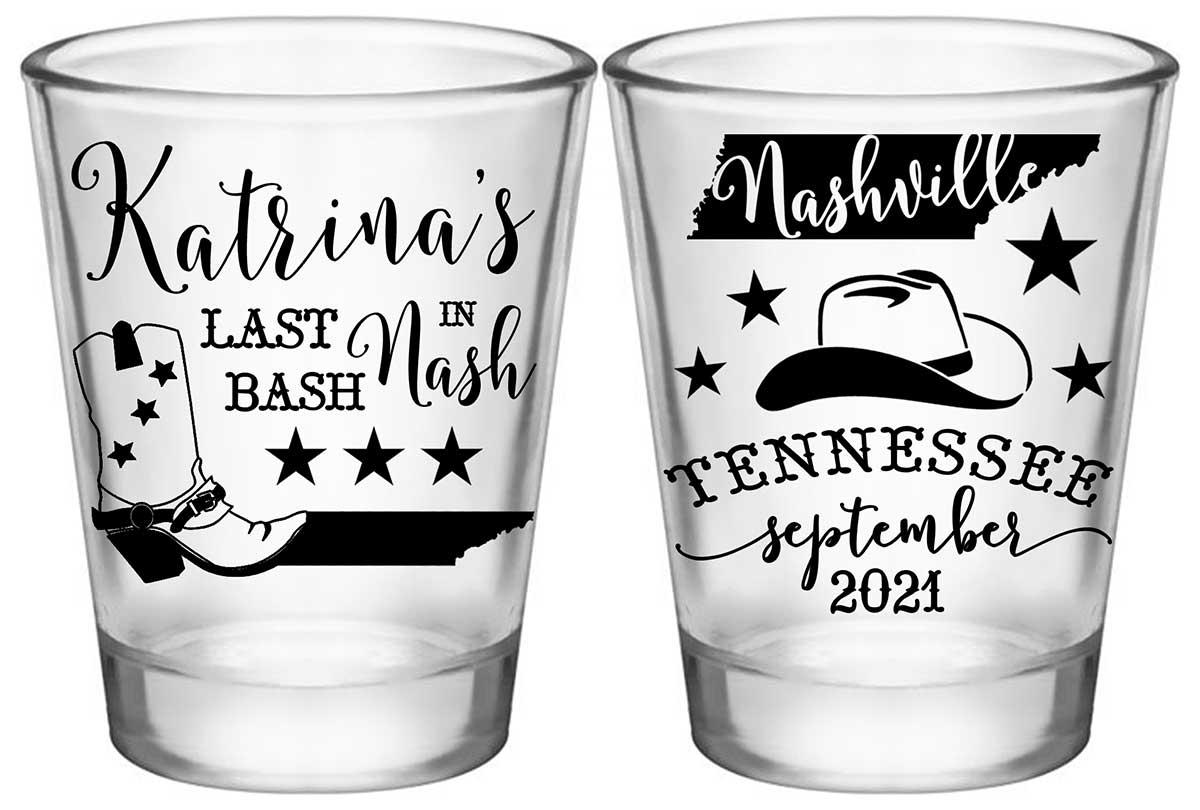 Last Bash In Nash 1A2 Standard 1.75oz Clear Shot Glasses Nashville Bachelorette Party Gifts for Guests