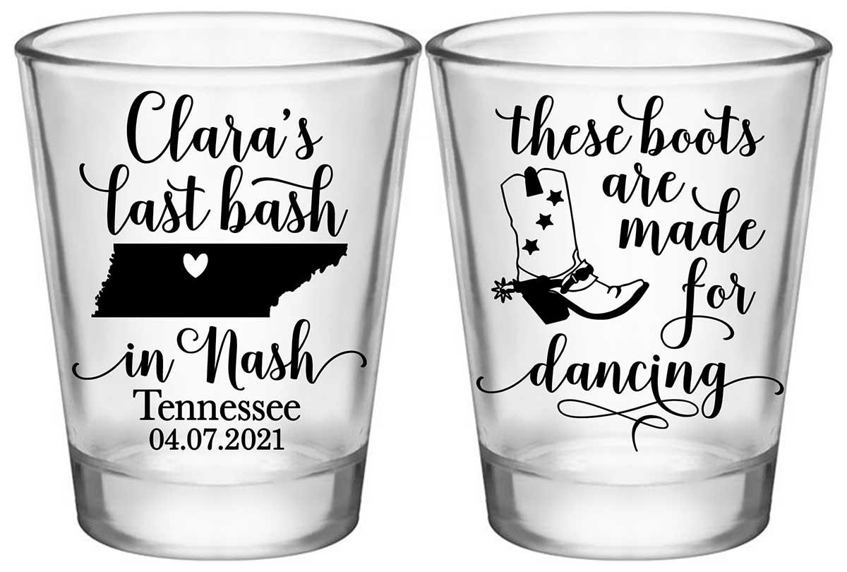 Last Bash In Nash 2A2 Standard 1.75oz Clear Shot Glasses Nashville Bachelorette Party Gifts for Guests