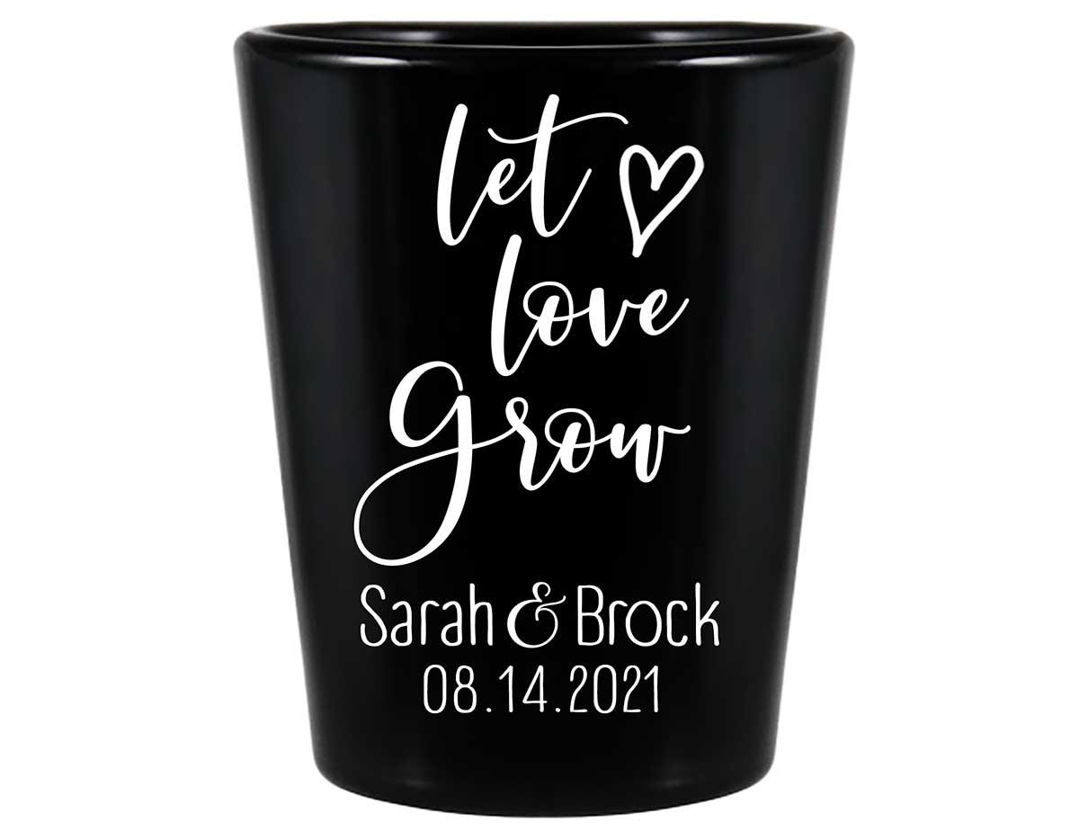 Let Love Grow 1A Standard 1.5oz Black Shot Glasses Spring Wedding Gifts for Guests