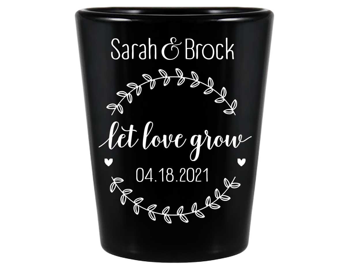 Let Love Grow 2A Standard 1.5oz Black Shot Glasses Spring Wedding Gifts for Guests