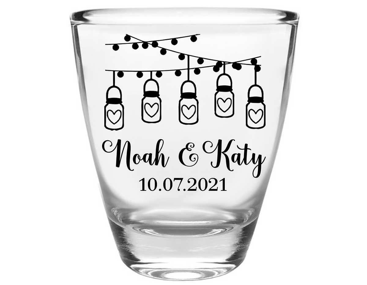 Mason Jar Lights 1A String Lights Clear 1oz Round Barrel Shot Glasses Rustic Wedding Gifts for Guests