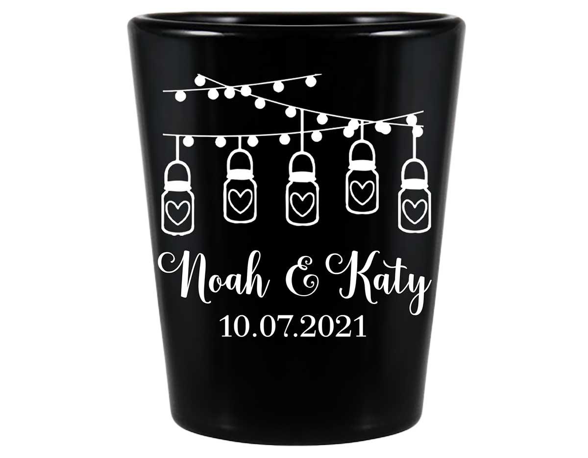 Mason Jar Lights 1A String Lights Standard 1.5oz Black Shot Glasses Rustic Wedding Gifts for Guests